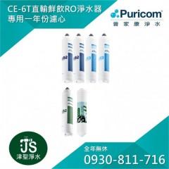 普家康淨水 省力卡式大流量鮮飲RO淨水器-CE-6T 一年份濾心(共6支)