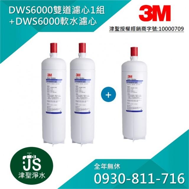 3M DWS6000 雙道替換濾心*1組 + DWS6000 軟水濾心 1支